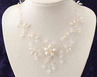 Swarovski Crystal and Pearl Necklace Made to by MissSDesigns