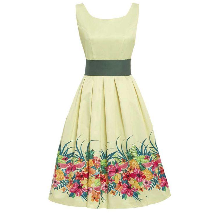 Lindy Bop Swing Lana jurk met watermeloen en bloemen print licht geel
