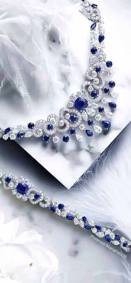 Diamond & Sapphire Necklace and Bracelet Set   Graff Diamonds