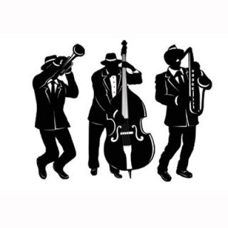 231 - Gangster Silhouettes Jazz Trio. Pack of 3 Silhouettes Jazz Trio (46cm) Printed cardboaord on two sides