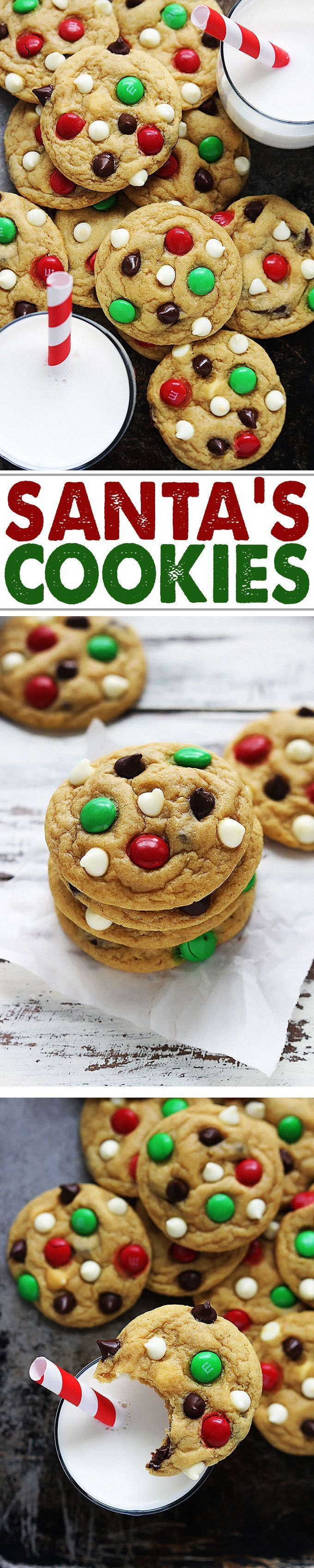 Santa's favorite cookies! Soft and chewy double chocolate chip pudding cookies with M&M candies.
