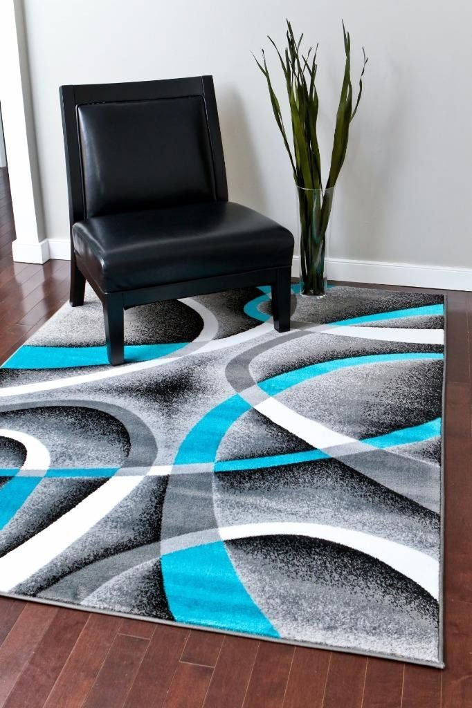2305 Turquoise White Swirls 20 X 34 Modern Abstract Area Rug