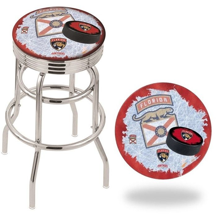 Florida Panthers NHL D2 Retro Chrome Ribbed Ring Bar Stool. Available in 25-inch and 30-inch seat heights. Visit SportsFansPlus.com for details.