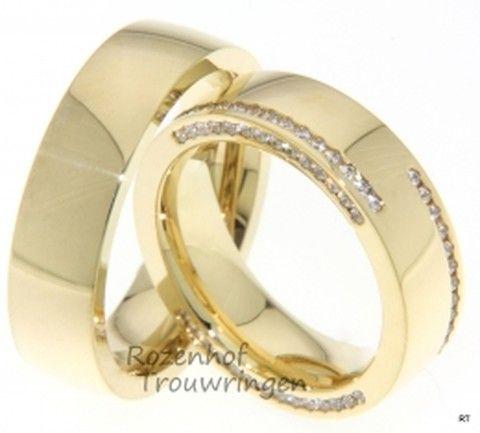 Geelgouden trouwringen bij Rozenhof Trouwringen. De grootste collectie trouwringen in geelgoud met of zonder briljant of geelgouden Trouwringen mer diamanten.