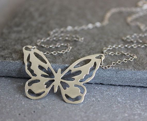 Silver butterfly necklace, butterfly pendant, dainty necklace, gift for her on Etsy, 159.61₪