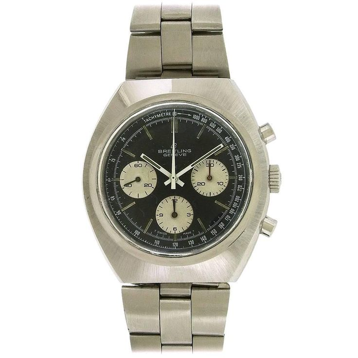 Vintage Breitling Chronograph Ref. 1450, Circa 1970's | From a unique collection of vintage wrist watches at https://www.1stdibs.com/jewelry/watches/wrist-watches/