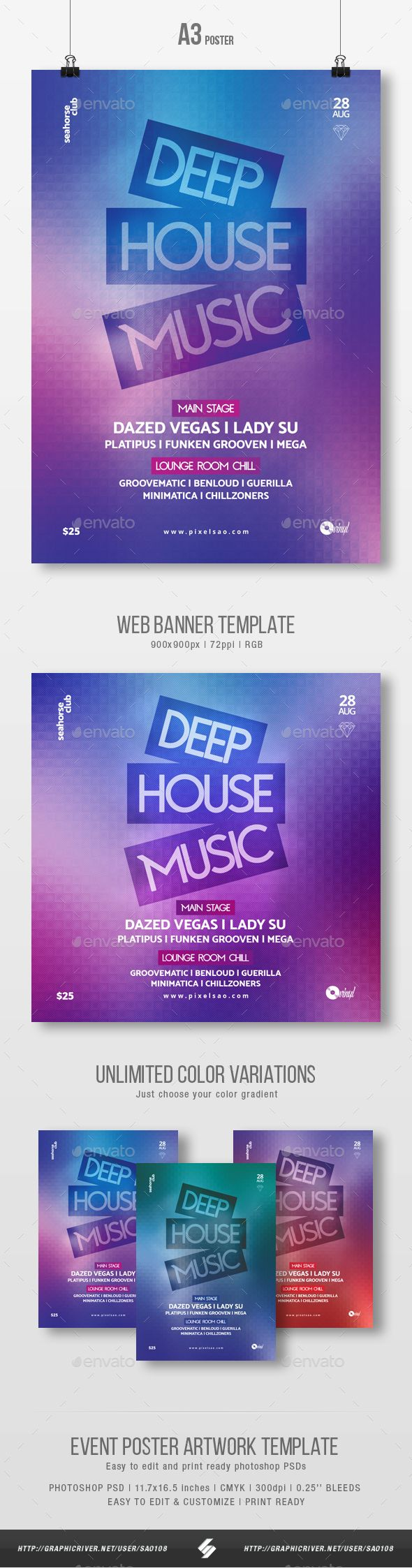 Deep House Music  Party Flyer / Poster Template A3 #a3 #dance  • Download here → https://graphicriver.net/item/deep-house-music-party-flyer-poster-template-a3/21273369?ref=pxcr