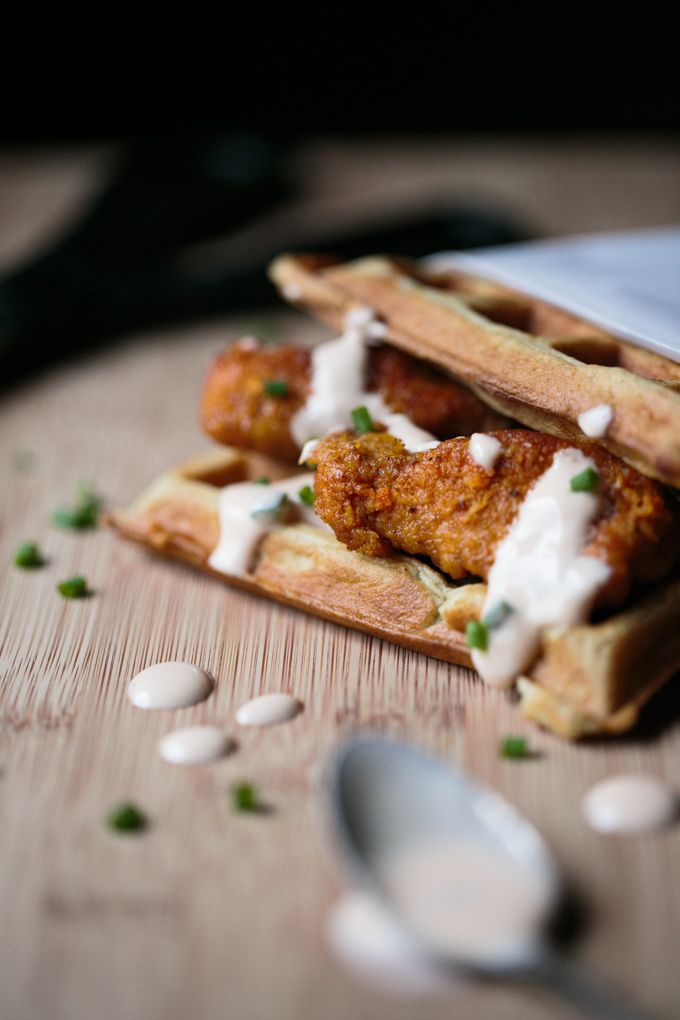 Chicken N Waffles with a spicy sweet sriracha maple sauce - thiswildseason.com -