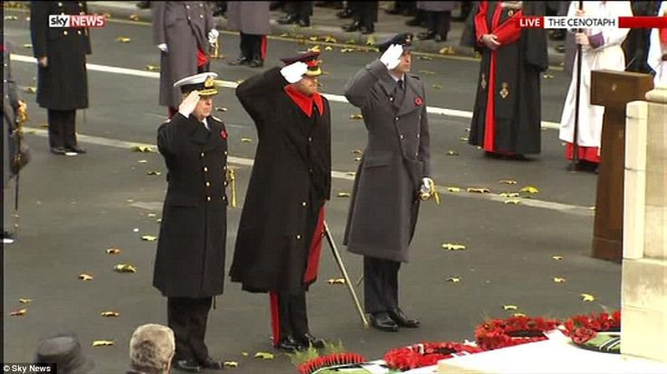 Princes William (right), Harry (centre) and Andrew (left) also laid floral tributes during...