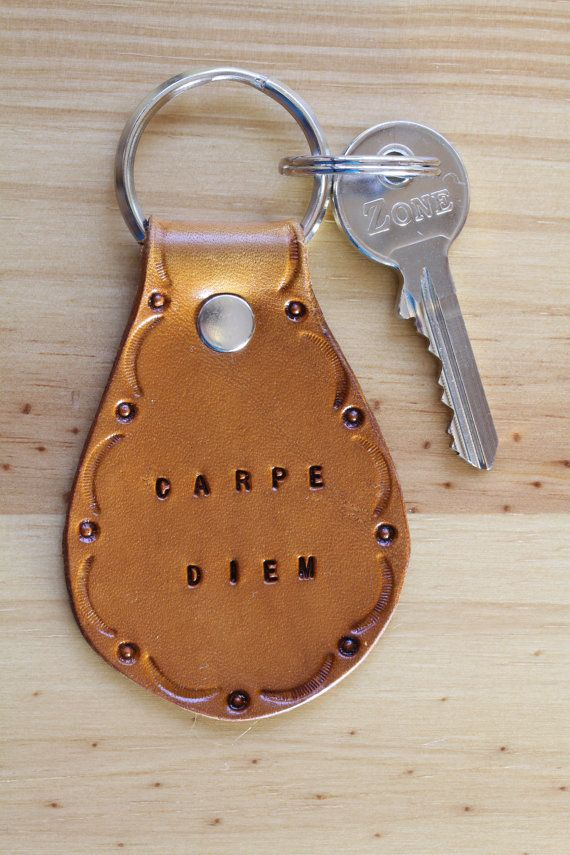 Handmade Leather Carpe Diem Keychain from Tina's Leather Crafts on Etsy.com.  Repin To Remember.