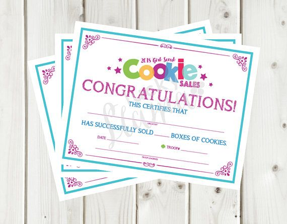 2018 Girl Scout Inspired Cookie Sales Certificate - Instant Download Perfect for congratulating girl scouts on their hard work selling cookies! Just print and write their info on each certificate. File is not editable. ..... File Size: 8.5 x 11 Recommend printing on white card stock