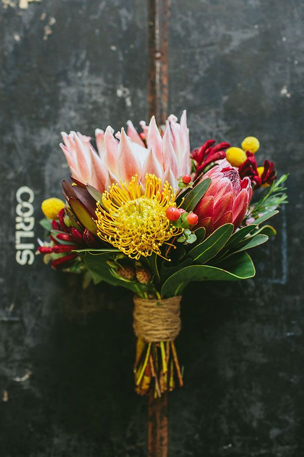 DALYCE + BLAKE // #wedding #flowers #bouquet #bright #colourful #yellow #billybuttons #protea #natives #bride #bridal