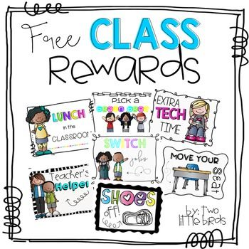 These class rewards can be used to reward exceptional student behavior. There are seven to choose from: lunch in the classroom, extra tech time, shoes off, teacher's helper, switch jobs, move your seat, and pick a brain break. If you like these rewards, please leave some feedback; I'd love to know what you think!