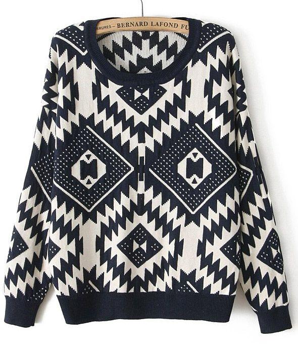 Navy Long Sleeve Geometric Pattern Sweater US$29.37