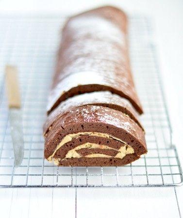 Chocolade cakerol met espresso room - Uit Pauline's Keuken