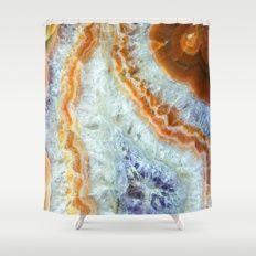 Purple Quartz with Orange Rust  Shower Curtain #agate #quartz #rocks #minerals #crystals #prettystuff #hygge