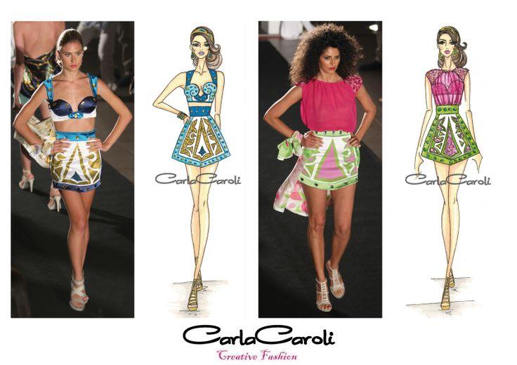 Figurini e abiti realizzati della collezione Siviglia S/S 2014 by Carla Caroli