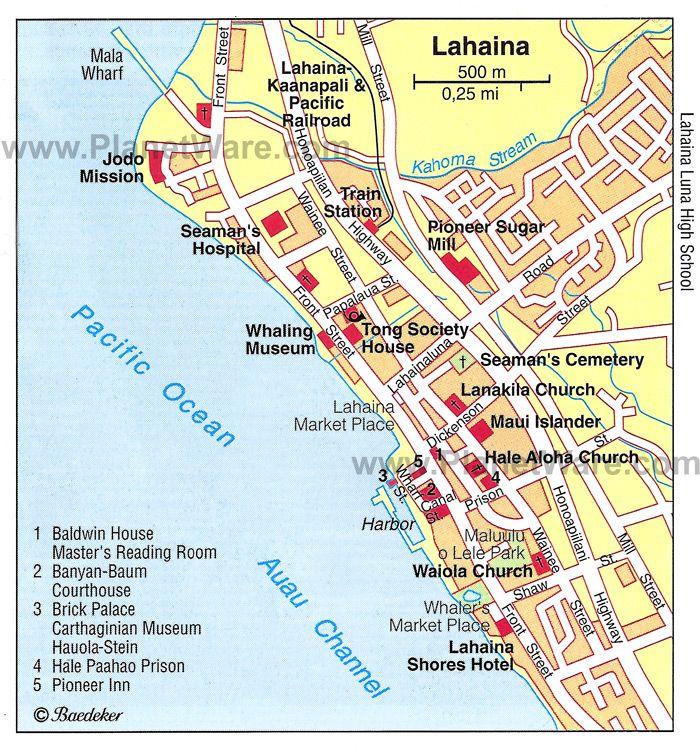 Maui Maps Printable Format Gifmaptyperoadmapcenter Mala Wharf St Ranked Of Cur Local Lahaina Hawaii Pinterest Honeymoon And