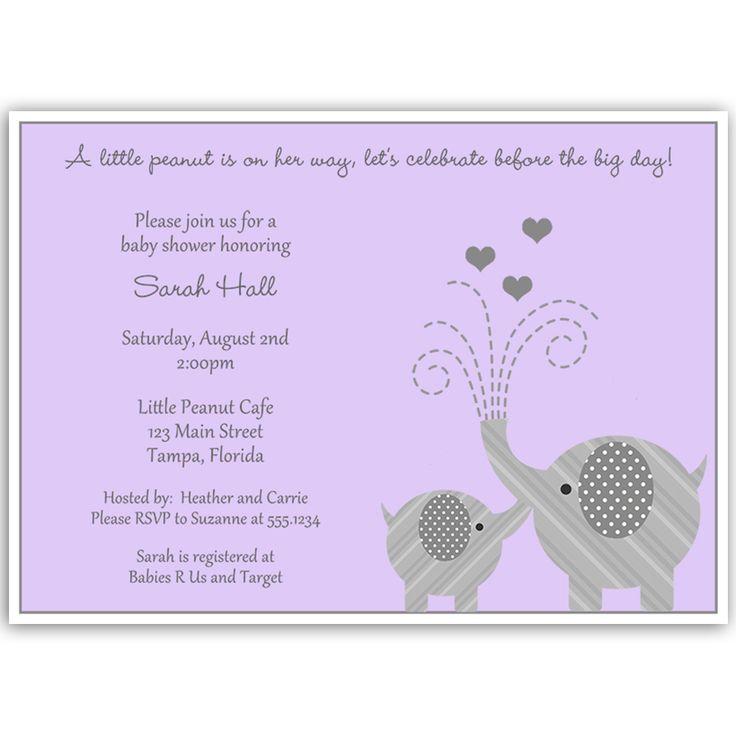 little peanut purple baby shower invitation