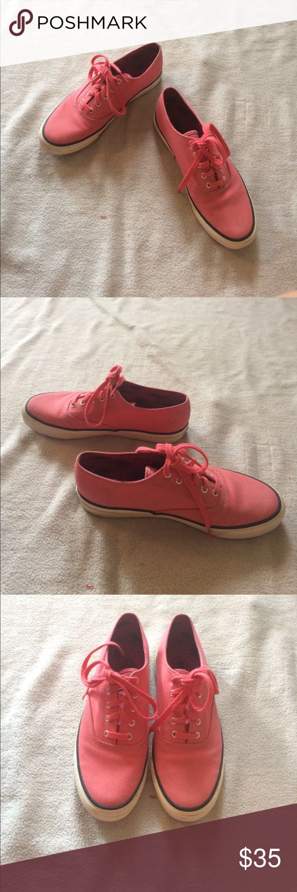 Sperry Top Sider Canvas shoes 7.5 Coral colored canvas Sperry Shoes! Gently worn, will clean up very nicely! Have so much life left in them! Women's size 7.5 Sperry Top-Sider Shoes Sneakers