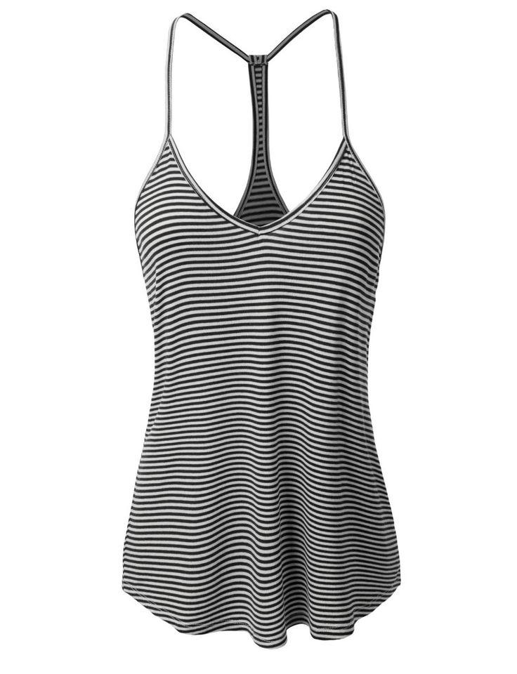 LE3NO Womens Loose Striped Spaghetti Strap Tank Top