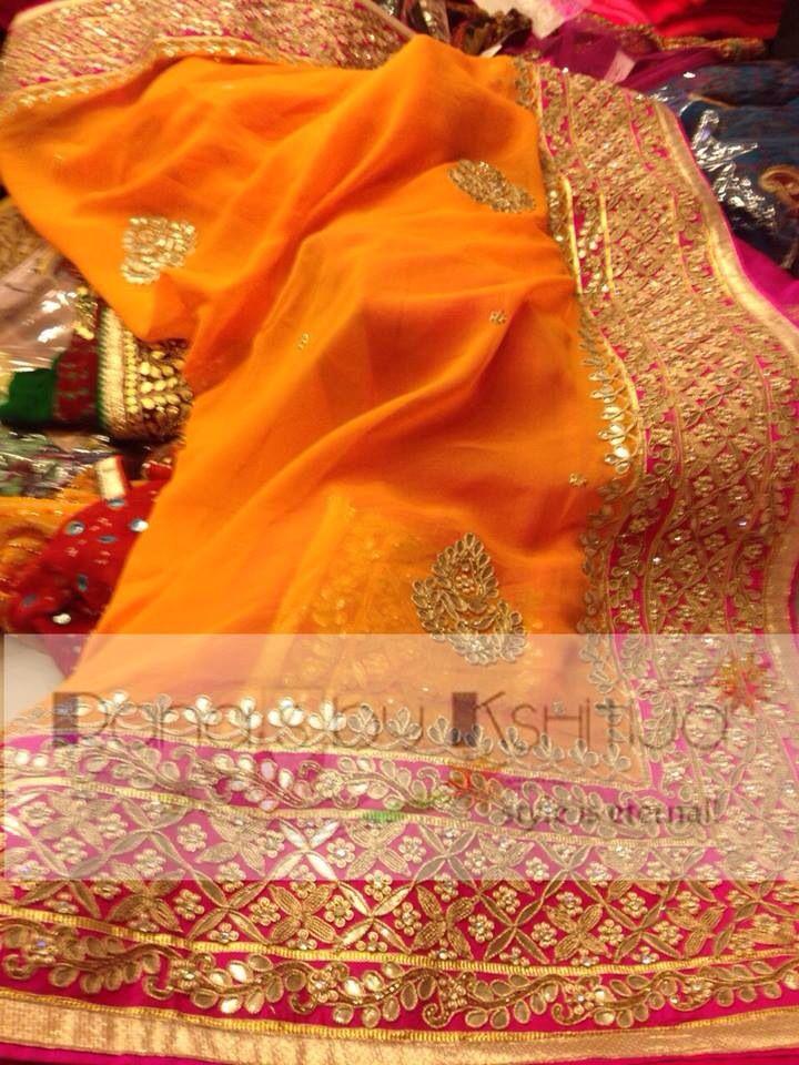 Orange Gota work saree