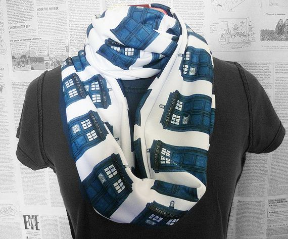 Dr who Scarf, Tardis Scarf, Whovian Clothing, Womens Scarf, Infinity Geek Scarves, ROOBY LANE on Etsy, $42.06