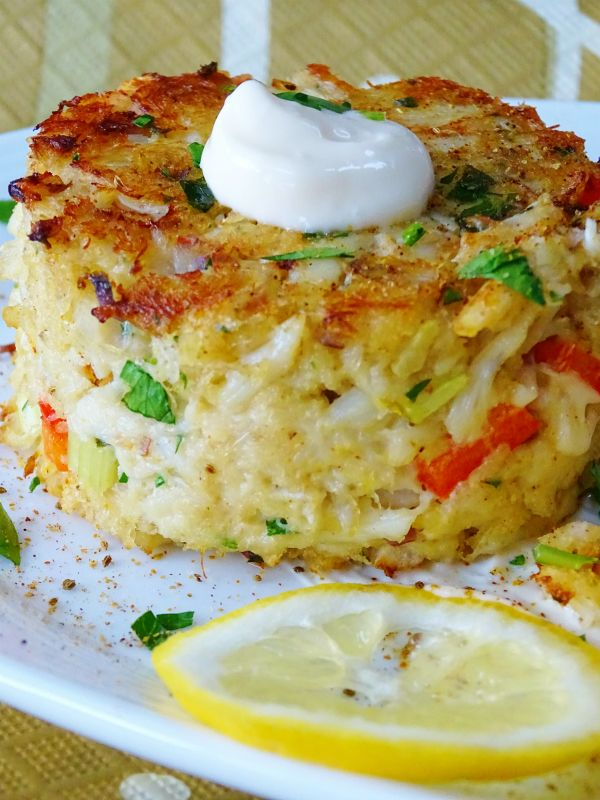 Baked crab cake fish and seafood pinterest baked for Baked fish cakes