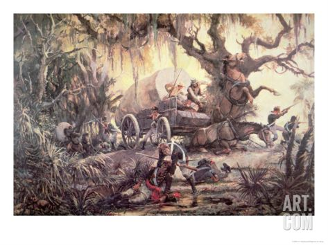 Seminoles Ambush a Us Marines Supply Wagon, 11th September 1812 by C.H. WATERHOUSE
