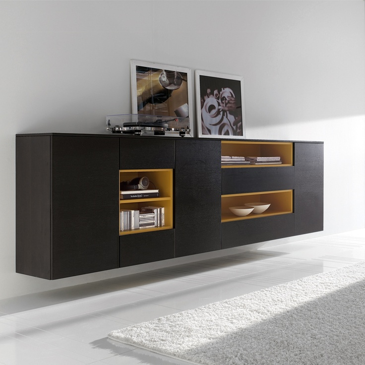 Mix Floating Sideboard in dark oak with unique open shelves in mustard yellow