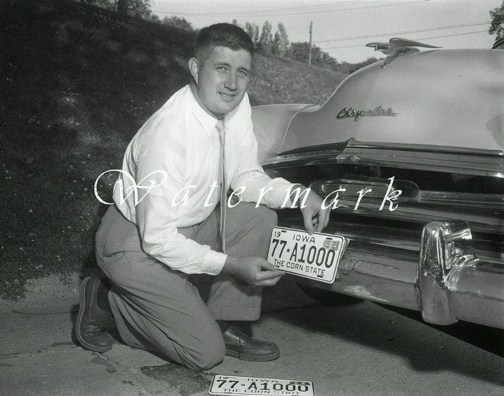"1955 New License Plate Photo NEGATIVE 4""×5"" IOWA Chrysler vintage Auto 1950s"