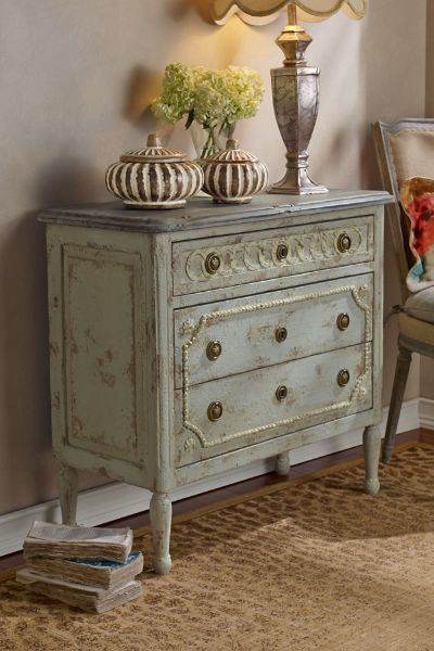 Flemish Bedside Chest - Swedish Grey Bedside Chest | Soft Surroundings - not sure where this would go, but like the distressed look but also the decorative elements