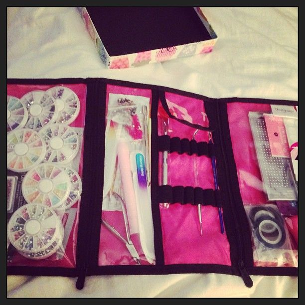 """Customer's Timeless Beauty Bag for all her 'nail art' supplies."""