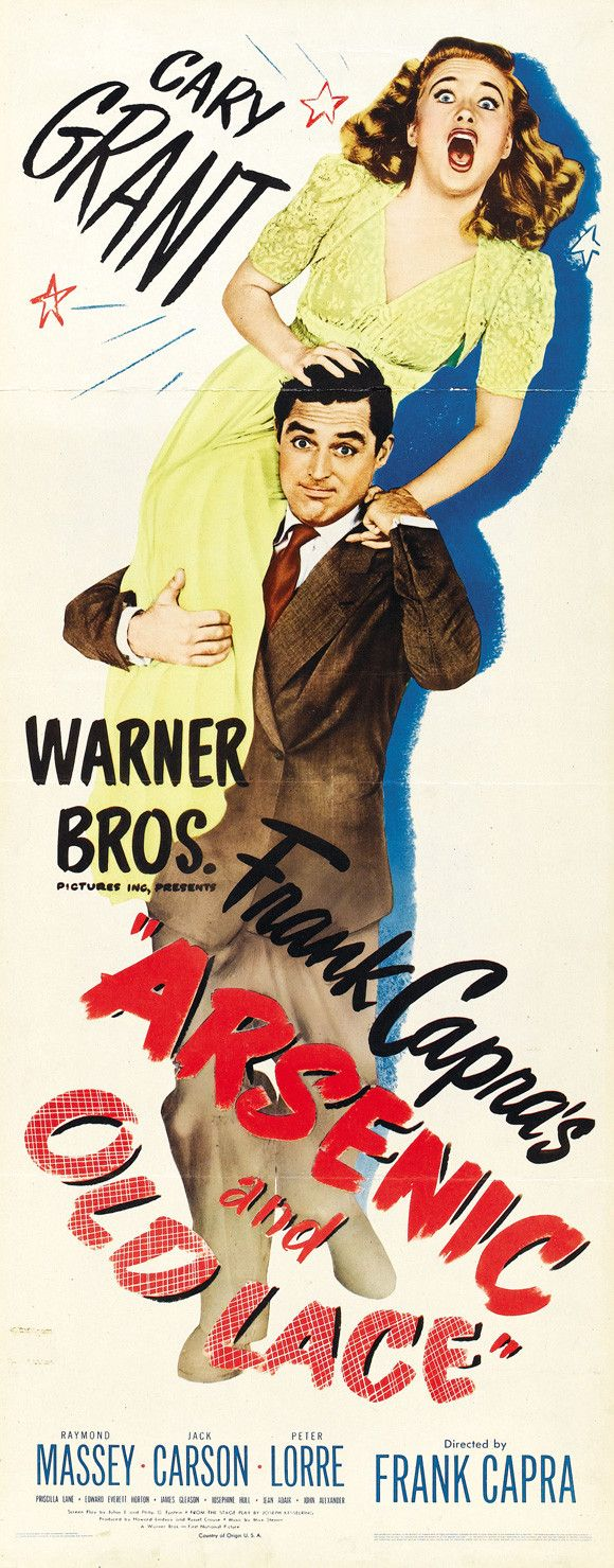 """CAST: Cary Grant, Priscilla Lane, Raymond Massey, Jack Carson, Edward Everett Horton; DIRECTED BY: Frank Capra; Features: - 14"""" x 36"""" - Packaged with care - ships in sturdy reinforced packing material"""