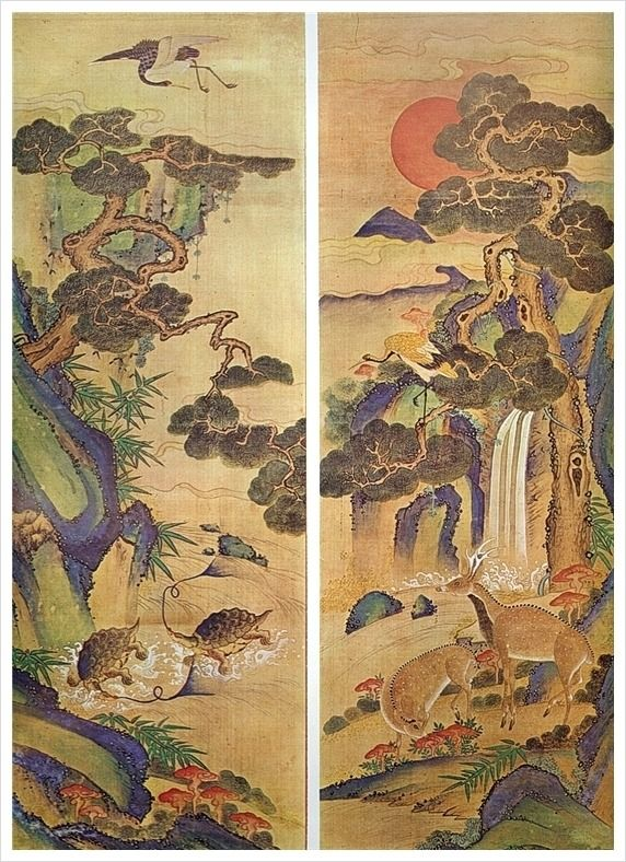 The Painting of Traditional Symbols of Longevity. 장생도 The ten traditional Symbols of Longevity are the sun, mountains, water, rocks, pine trees, clouds, the bulaocao, the tortoise, the crane, and deer. Derived from Chinese Daoist philosophy, these items were all traditionally objects of nature worship.