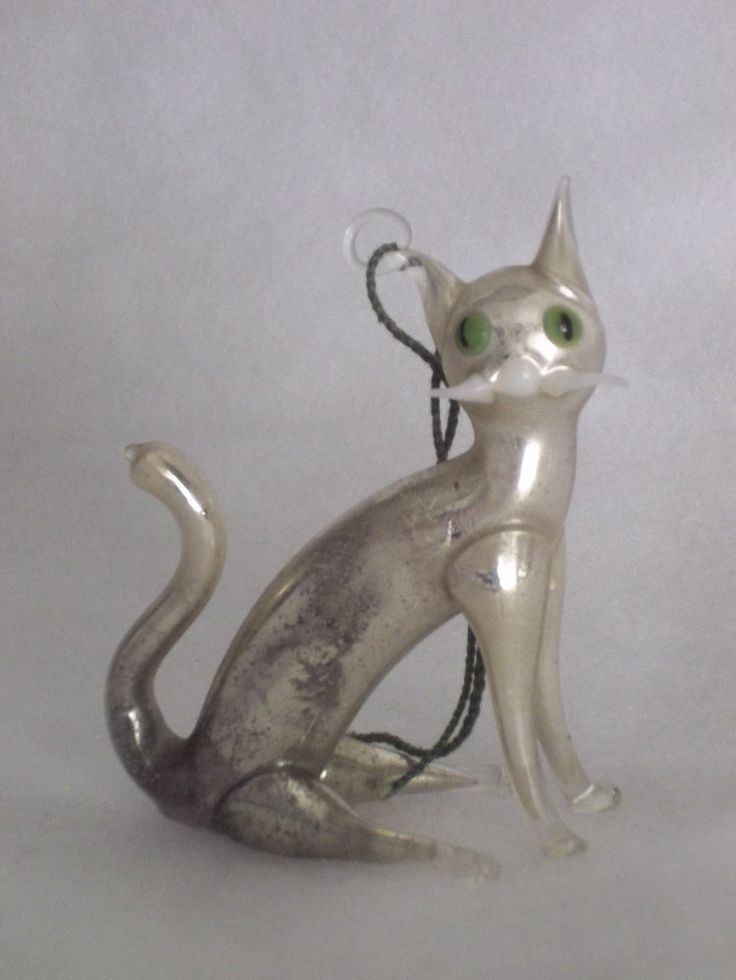 Mercury-glass cat Christmas ornament from Lauscha, Germany .