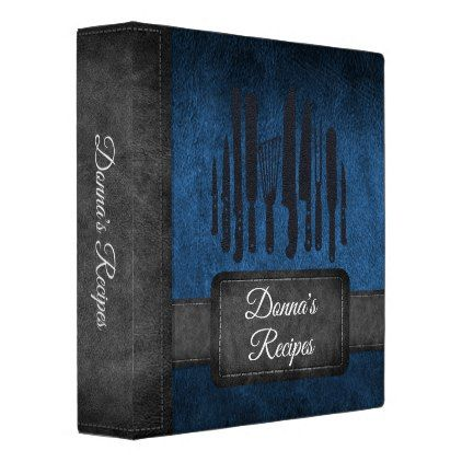 Recipe Album Blue Black Faux Leather Binder - black gifts unique cool diy customize personalize