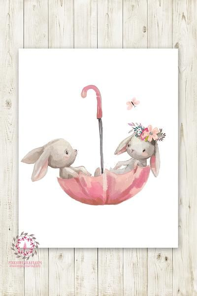 Umbrella Bunnies Bunny Rabbit Wall Art Print Boho Girl Nursery Baby Room Watercolor Printable Decor