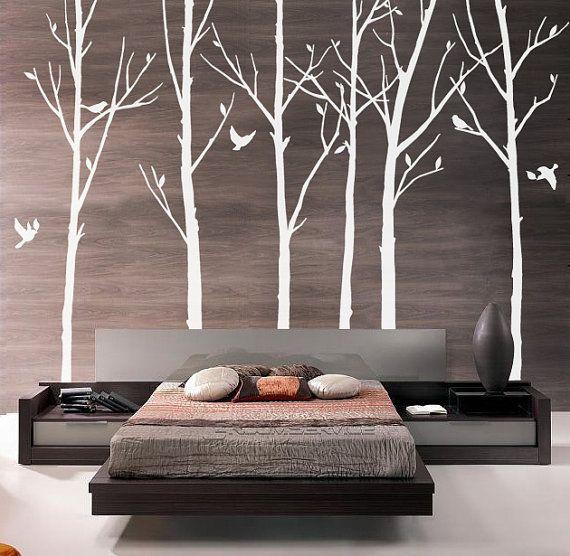 Vinyl Tree Wall Decal Tree Wall Sticker Art- winter tree with birds - 03 via Etsy