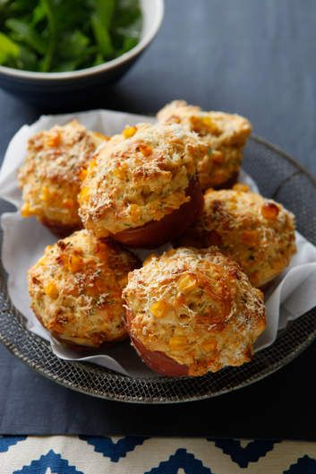 Jill Dupleix's prosciutto and roast sweetcorn muffins. Savoury muffins make a fun brunch or lunch served with a chunky tomato salsa and rocket salad — or just pack them, still warm, into the picnic basket.