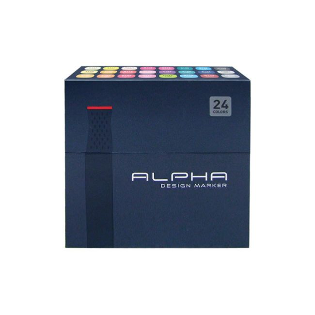 Graphic Art Marker Alpha Design Marker Twin Tip 24 Colors illustration Animation #Alpha