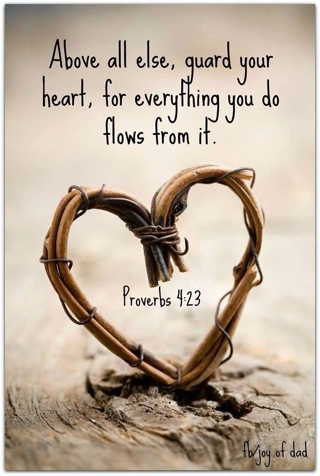 Proverbs 4:23 ~ Above all else, guard your heart, for everything you do flows from it.