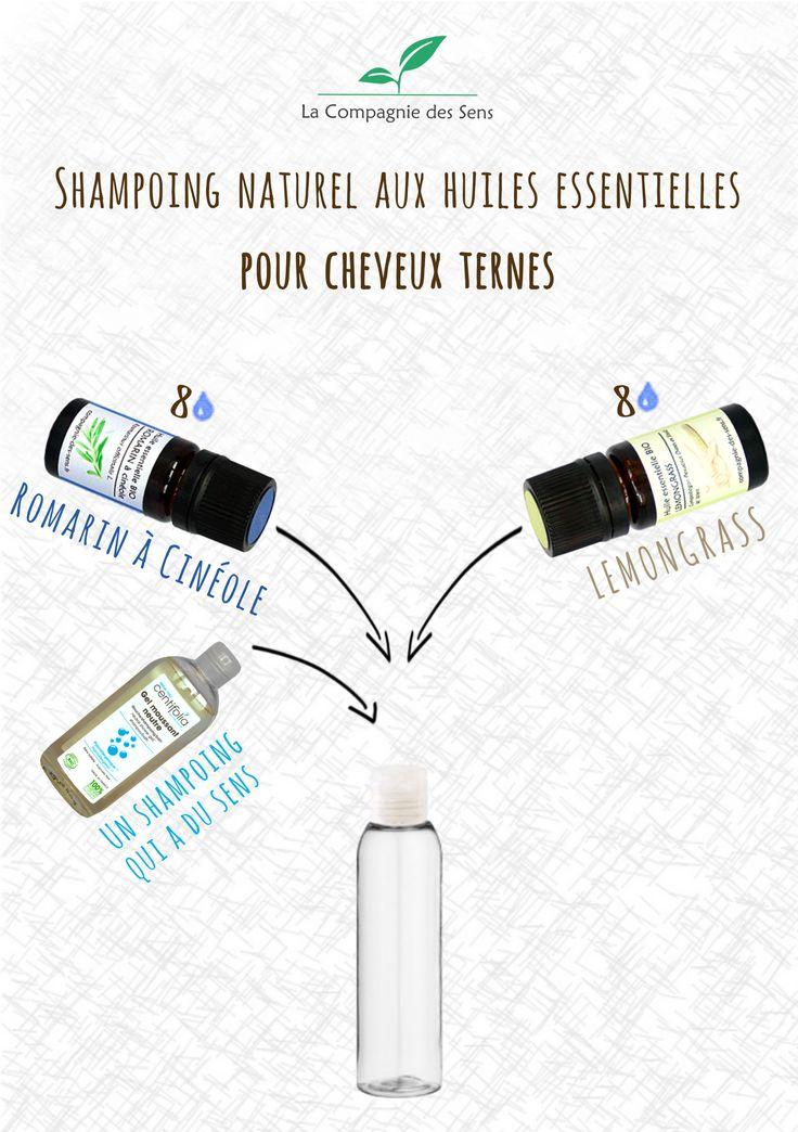 Shampoing naturel aux huiles essentielles pour redonner de la brillance aux cheveux ternes
