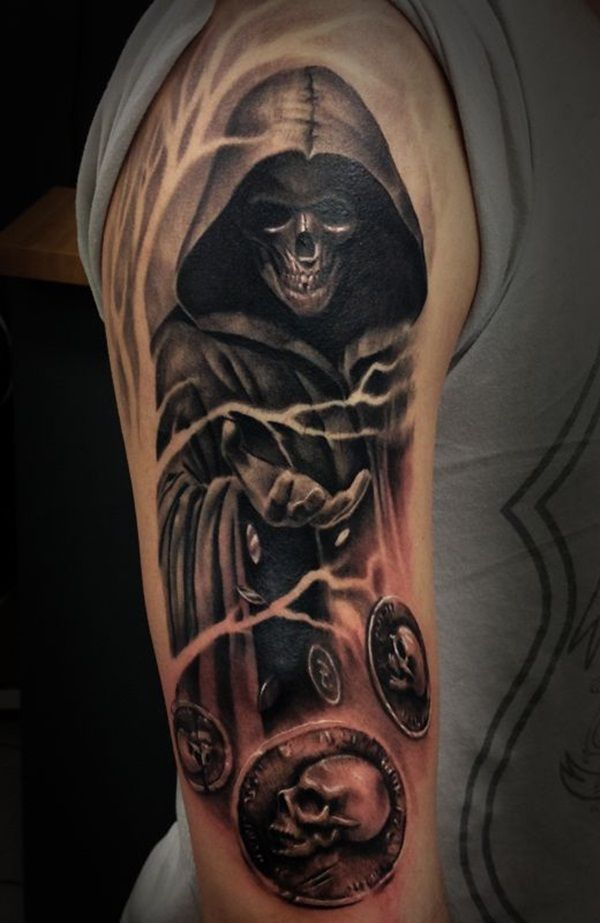 A mysterious Grim Reaper tattoo. The reaper seems to be throwing coins with skulls on them. It looks to be signifying that the reaper is tossing death wishes for the souls it's about to take.