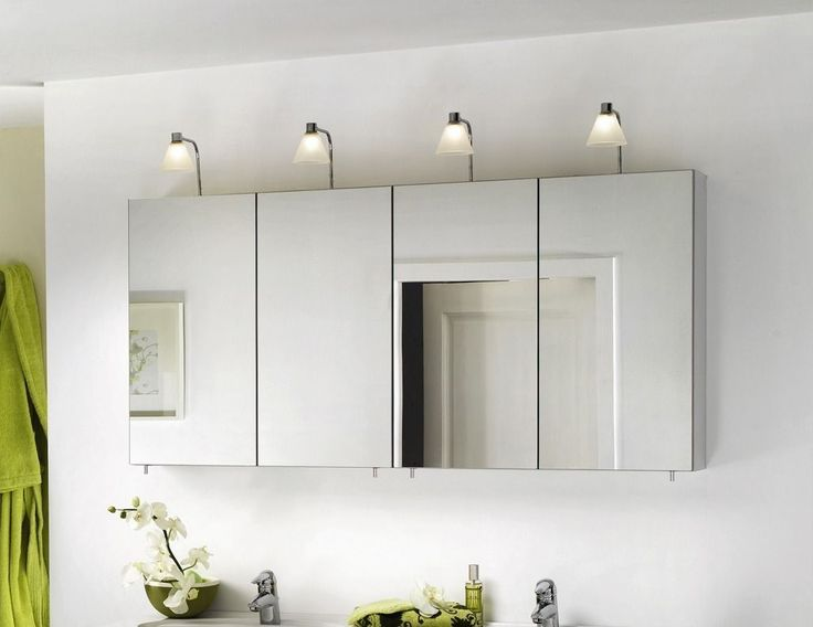 mirrored bathroom wall cabinet plus lighting white