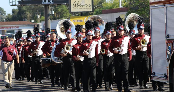 Silsbee High School Band marching in homecoming parade
