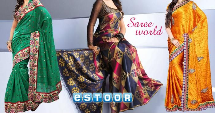 Choose from a wide range of trendy sarees, only @ http://eSTOOR.com