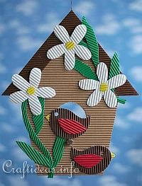 Corrugated Cardboard Birdhouse Decoration - nice use of the corrugation texture.
