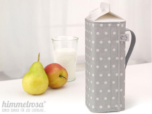 Krüge & Kannen - hohe Kanne f. Getränkekarton - hellgrau - Lovemag - ein Designerstück von himmelrosa bei DaWanda
