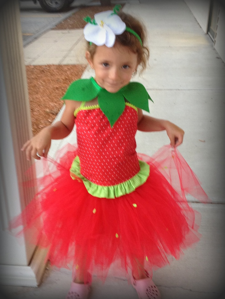 Sassy Strawberry Halloween Costume - (4 pc set) Strawberry Tutu, Corset Top, Leaf collar, flower hairpiece (Strawberry take 2). $75.00, via Etsy.